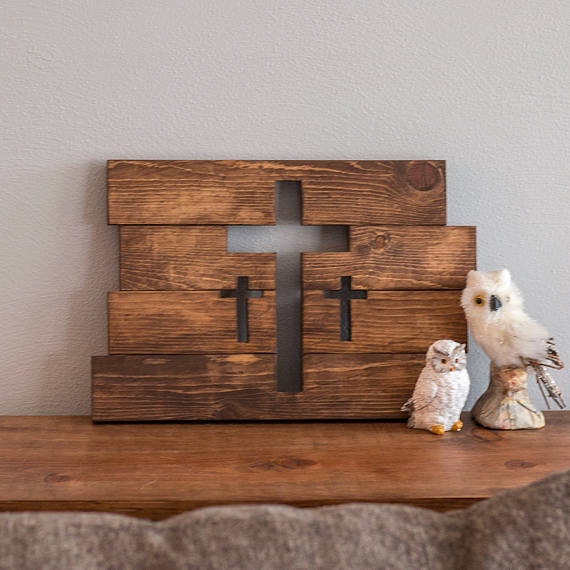 Wooden Cross Wall Decor Three Crosses Home