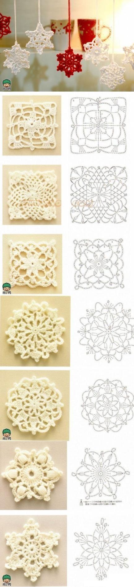 como-hacer-copos-de-nieve-tejidos-con-patrones.jpeg (433×1891) | tığ ...