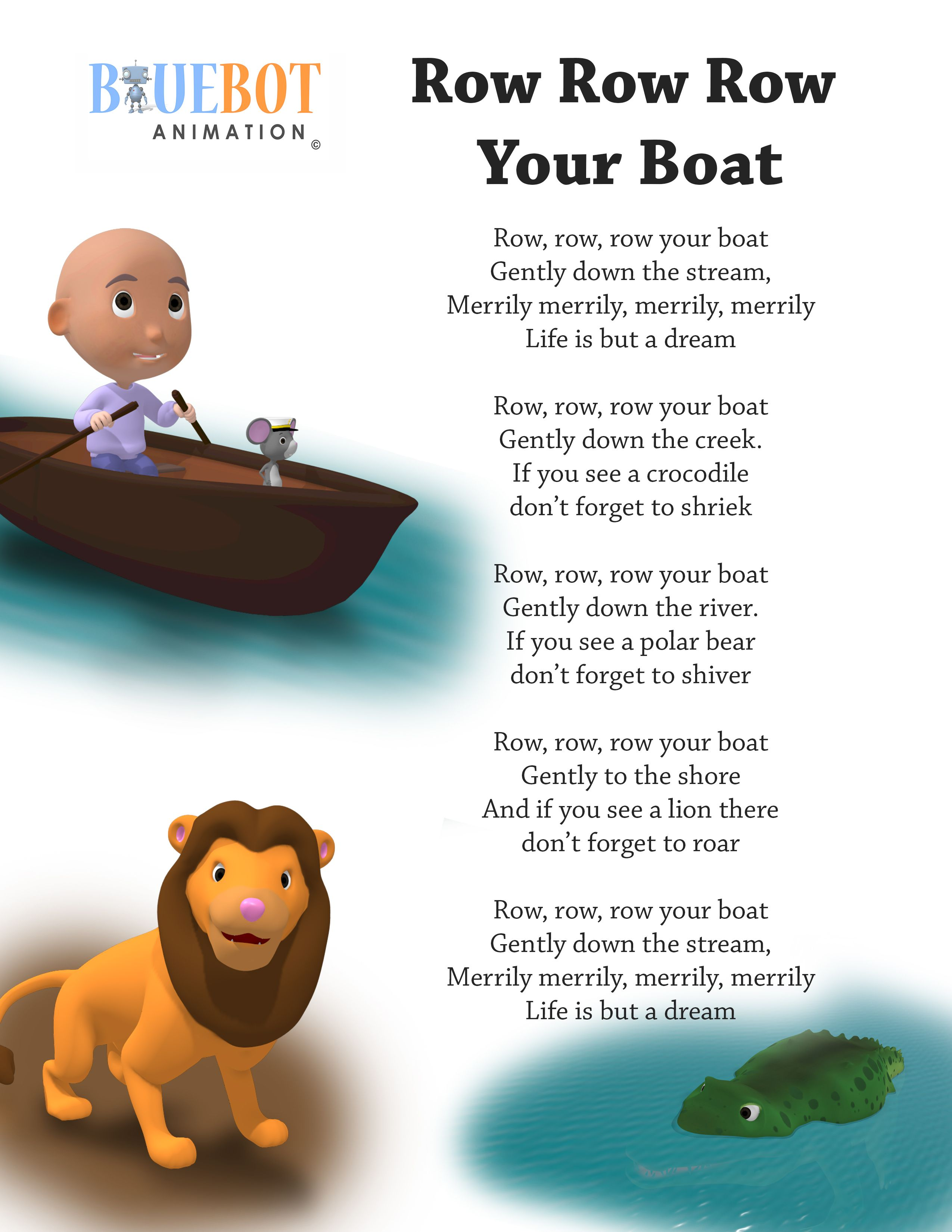 Row Row Row Your Boat Nursery Rhyme Lyrics Free Printable Nursery Rhyme Lyrics Page Row Ro Kids Nursery Rhymes Nursery Rhymes Activities Nursery Rhymes Songs