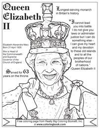 Queen Elizabeth Ii Free Online Coloring Page Free Online