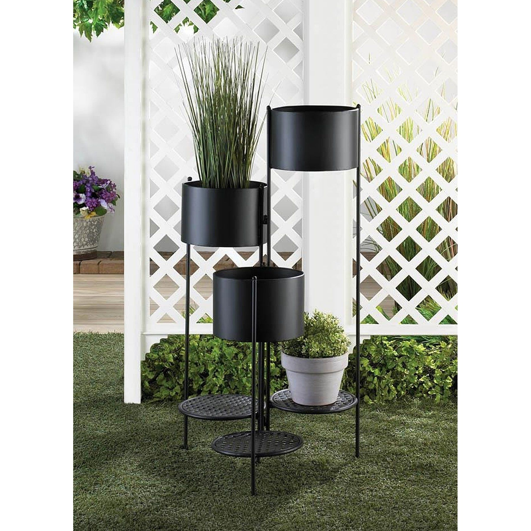 Roswell Contemporary 3 Tier Plant Holder Black Iron Bsd