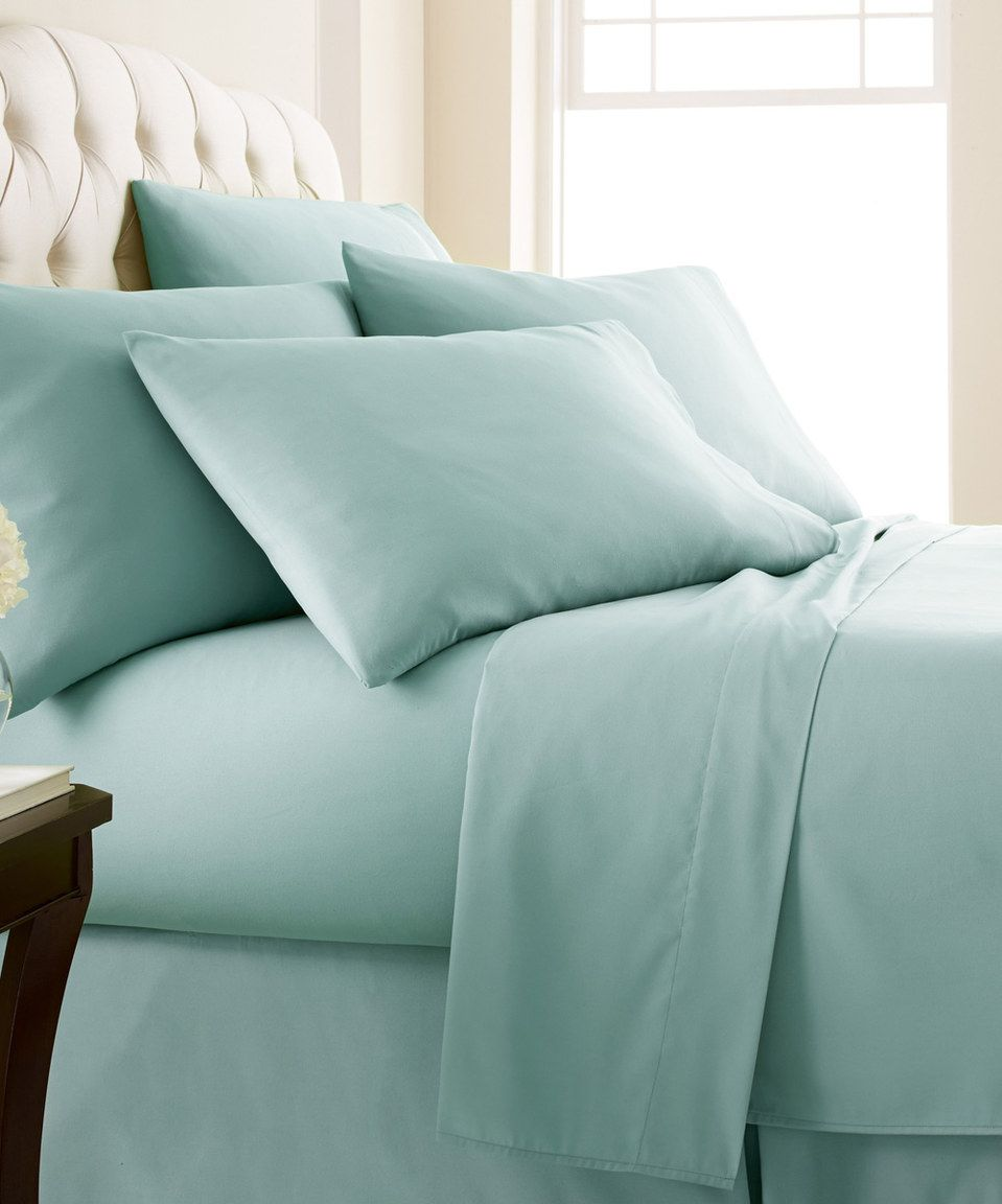 This Sky Blue Six-Piece Extra-Deep Pocket Sheet Set by Southshore ...