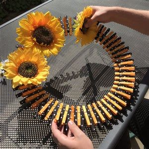 Photo of Clothespin sunflower wreath