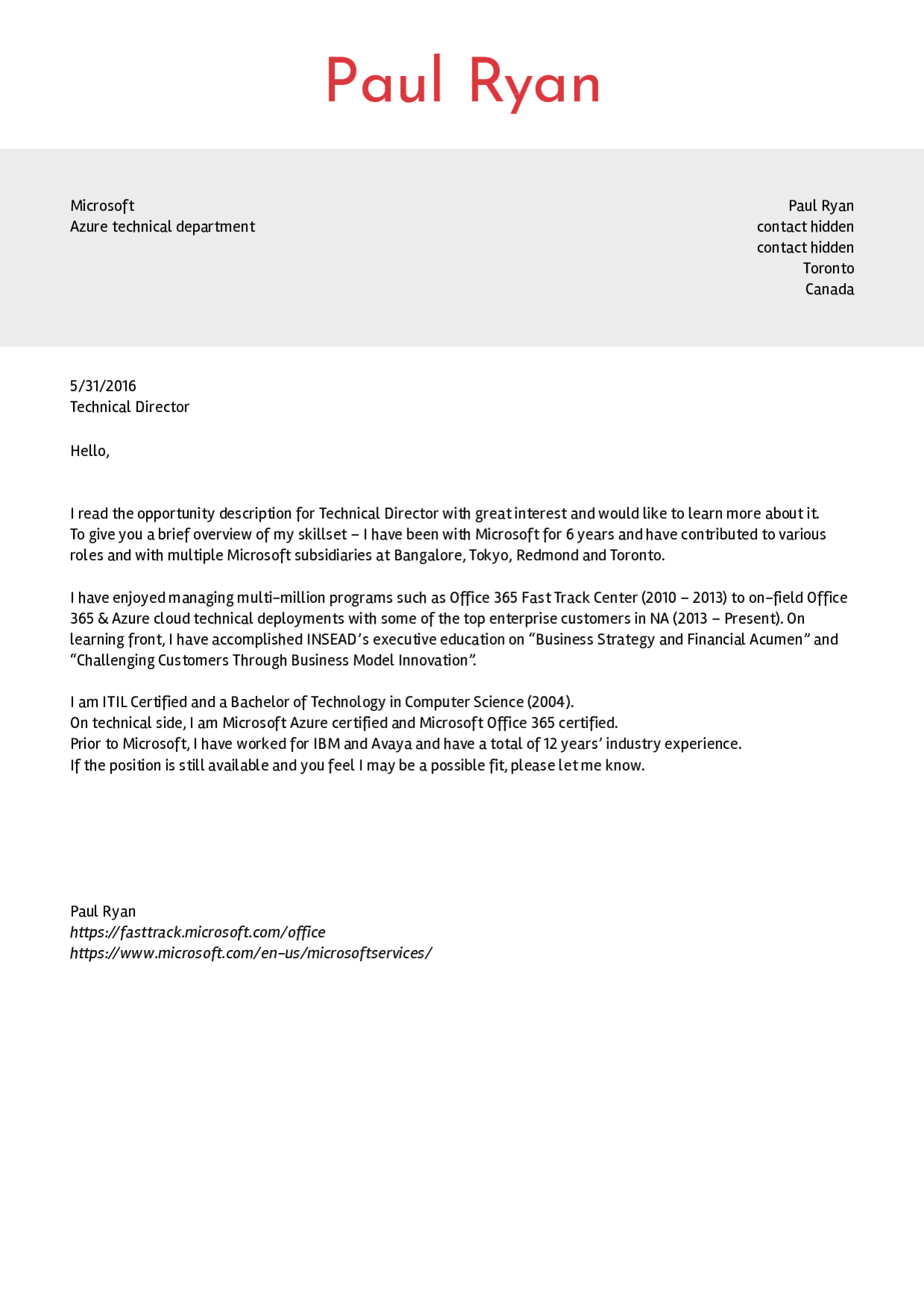 Cover Letter Template Office 365