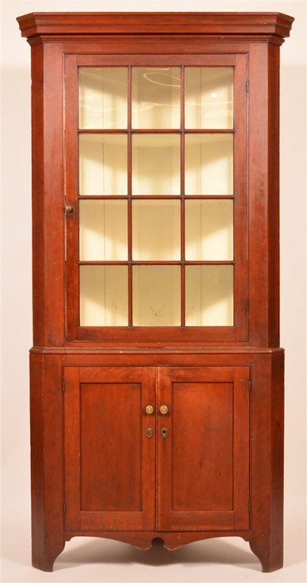 Pa Federal Cherry Two Part Corner Cupboard Jan 30 2016 Conestoga Auction Company Division Of Hess Auction Group In Pa Corner Cupboard Cupboard Cupboard Shelves