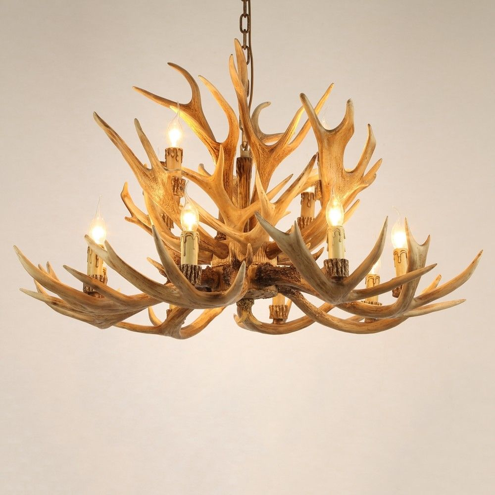 Rustic Style Resin Antler Whitetail Branch 2 Tier 12 Candle Light Large Cascade Chandelier Chandelier Antler Lights Chandelier For Sale Antler Light Fixtures