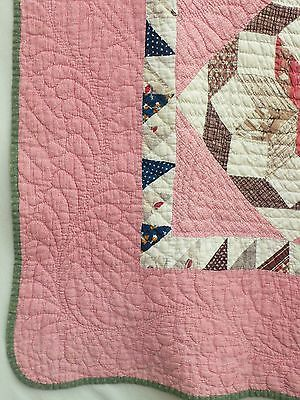 Detail, GRAND LUSHLY quilted, ROLLING STAR late-19c 6-8spi SCRAPBAG PINK quilt, borders!, eBay, fourthcornerfinds