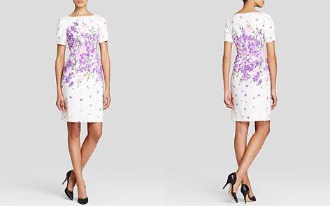 Adrianna Papell Dress - Garden Party Floral Print Short Sleeve Sheath