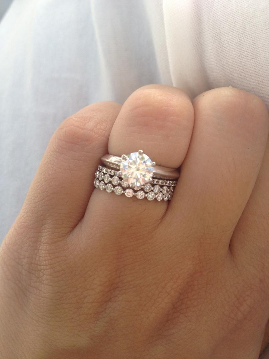 50e06c6452edc Love the stack! Engagement ring, wedding ring, and one for each ...