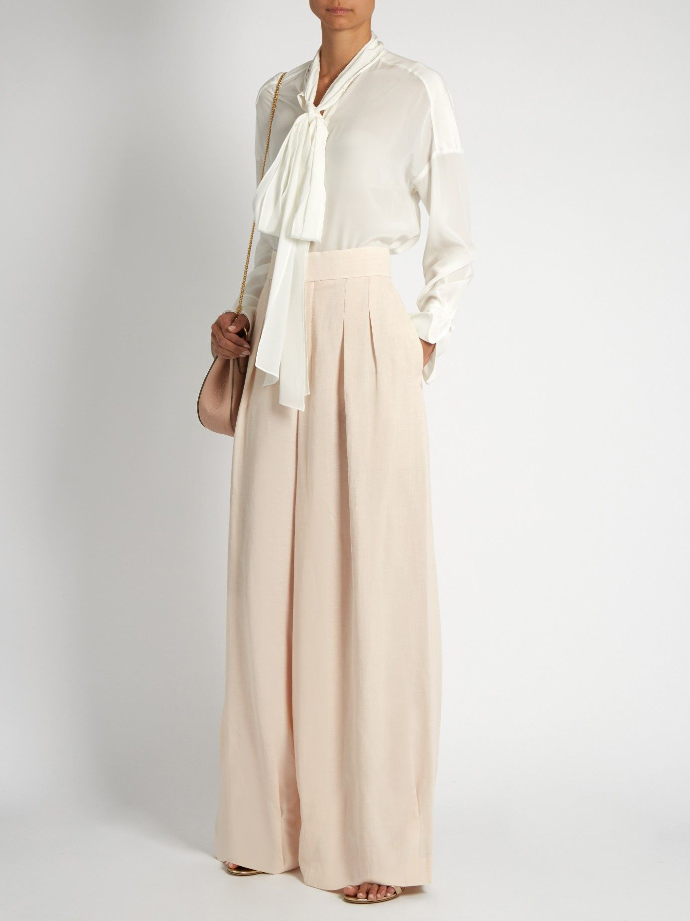 Pleat-front wide-leg crepe trousers | Chloé | MATCHESFASHION.COM US
