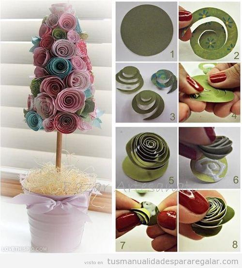 Manualidades regalar rbol de papel para decorar casa - Manualidades para decorar el hogar paso a paso ...