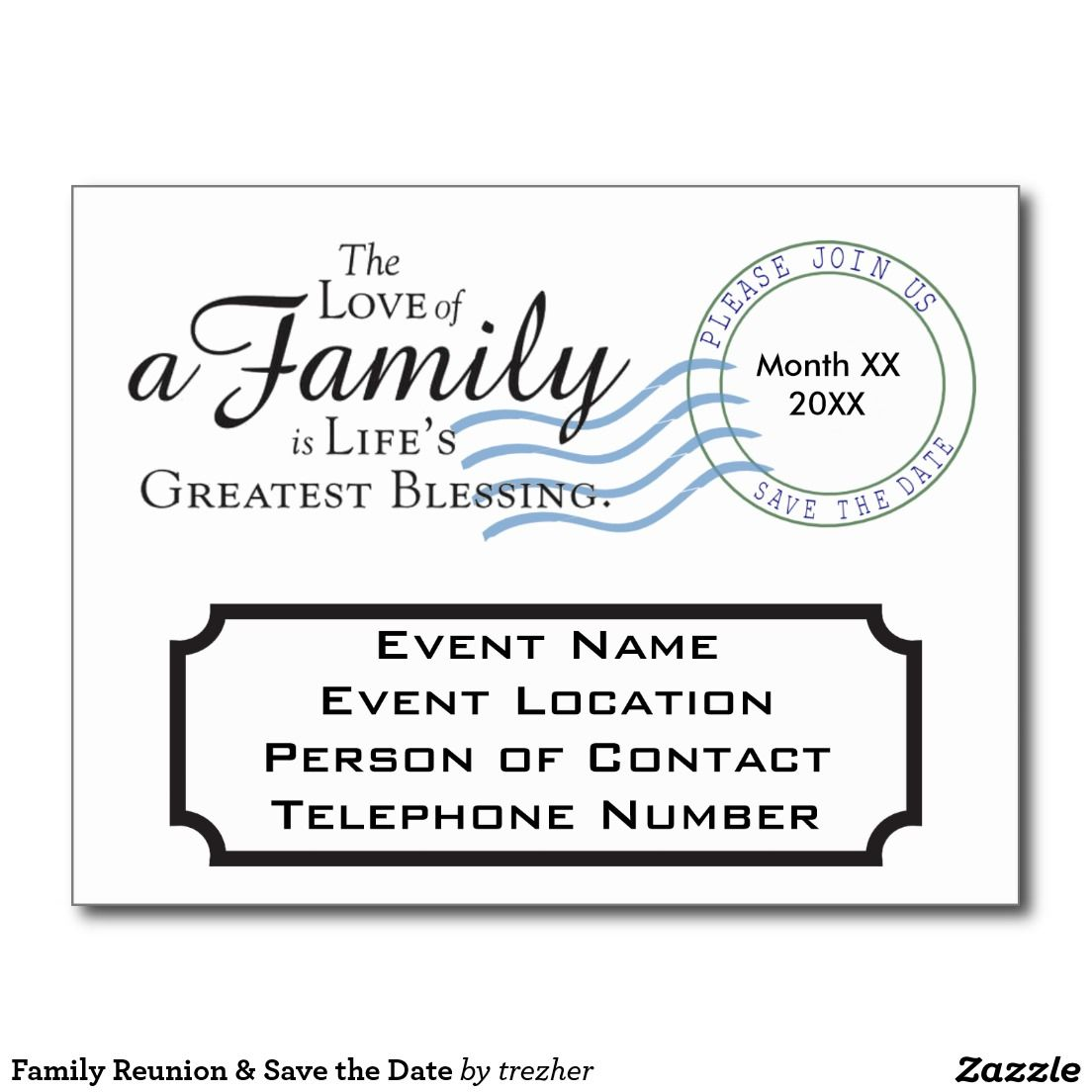 Family Reunion & Save The Date Announcement Postcard