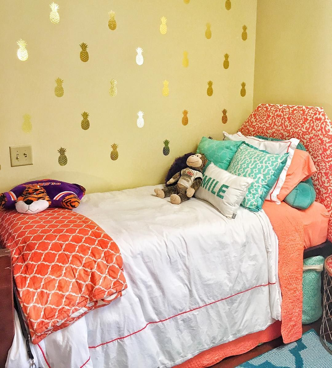 Loving our gold pineapple decals in this dorm room! | Photos from ...
