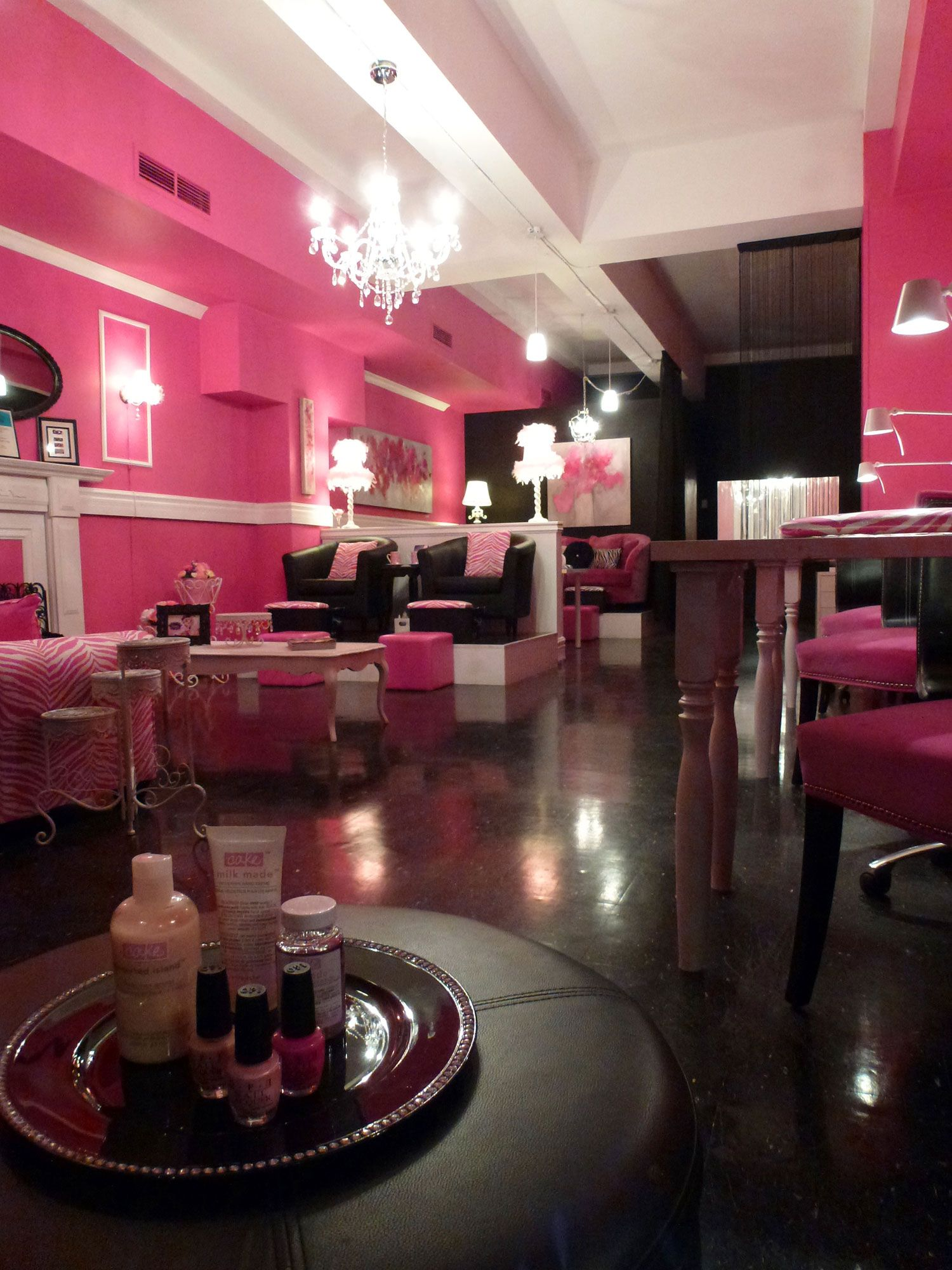 Pink Room With Images Nail Salon Decor Beauty Salon Decor