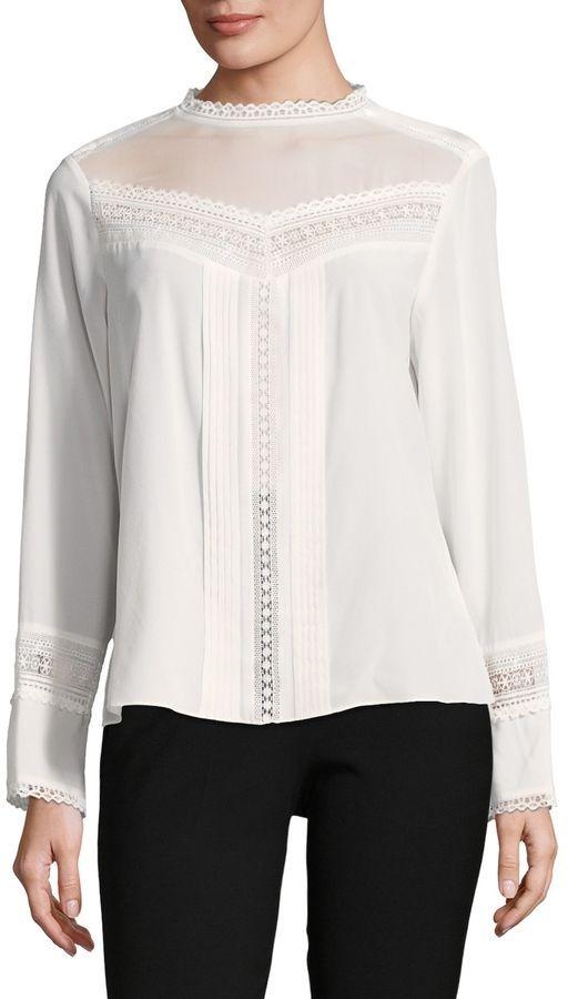 99b8f9a546b971 Rebecca Taylor Women s Silk Lace-Trimmed Top