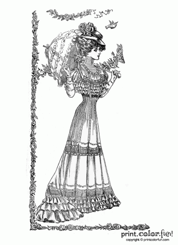 Vintage Springtime Lady Coloring Page