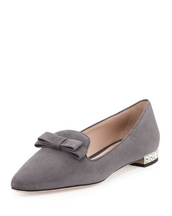 Suede Crystal-Heel Bow Loafer, Gray by Miu Miu at Bergdorf Goodman.