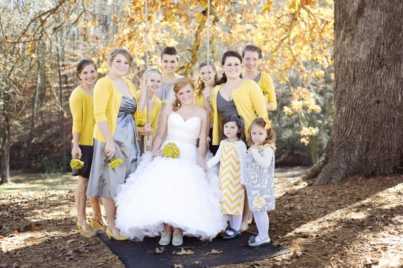 Gray Bridesmaid Dress Ideas | Yellow cardigan, Wedding and Grey ...