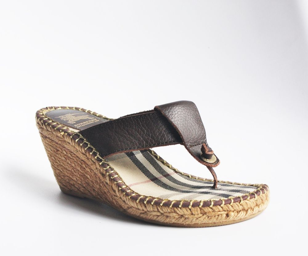 5c31b754ddd BURBERRY NOVA CHECK LEATHER SANDALS 38 $225 Thong Espadrilles Wedge ...