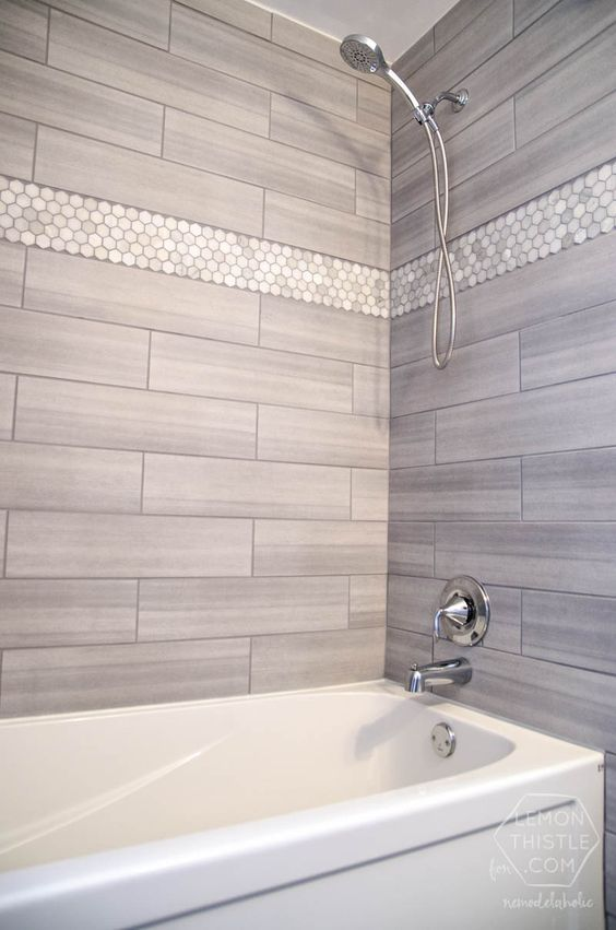 Photos On Tiled bath and shower Love the tile choices The marble hexagon accent tile from Home Depot