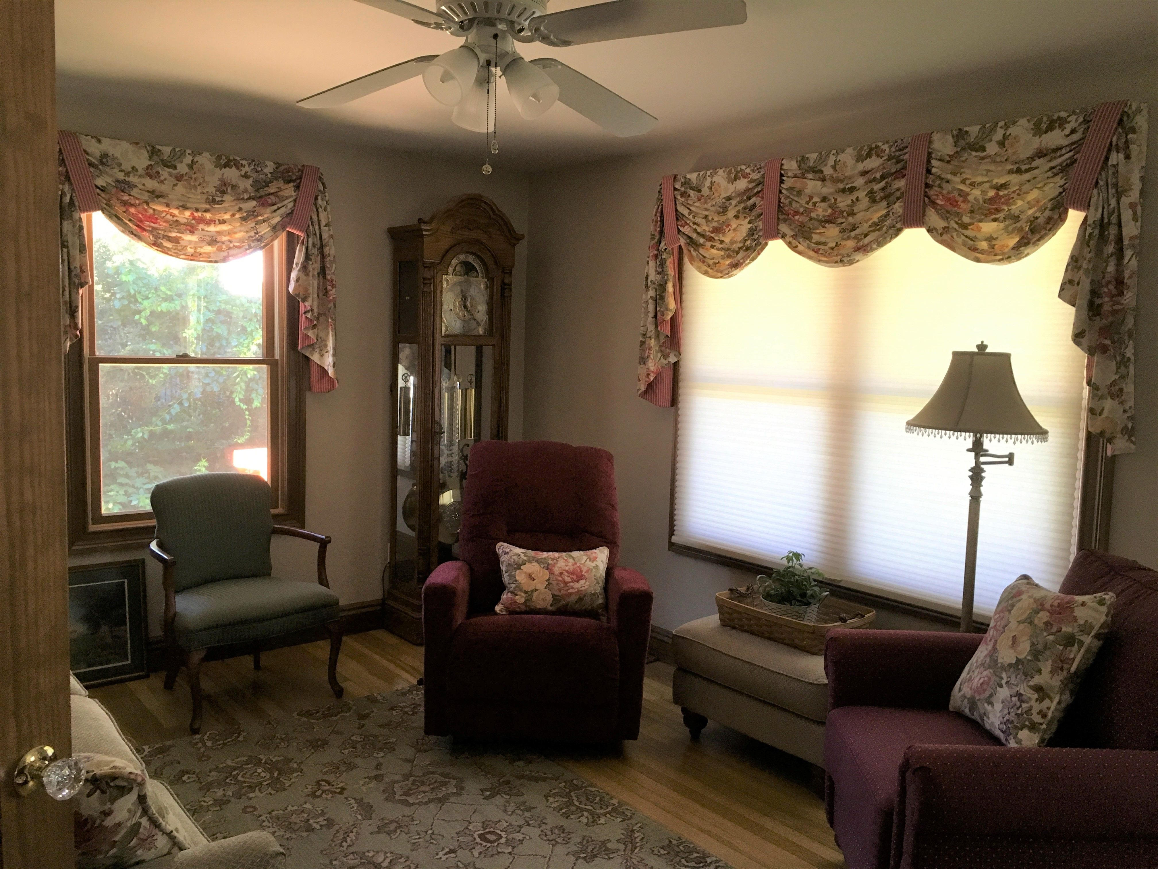 Gathered Swags With Contrast Tabs Over Cellular Shades Custom