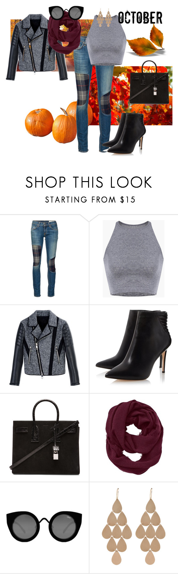 Welcome October! by flap-11 on Polyvore featuring moda, Neil Barrett, rag & bone/JEAN, Yves Saint Laurent, Irene Neuwirth, Athleta, Quay, autumn, polyvorecommunity and Autumncolors
