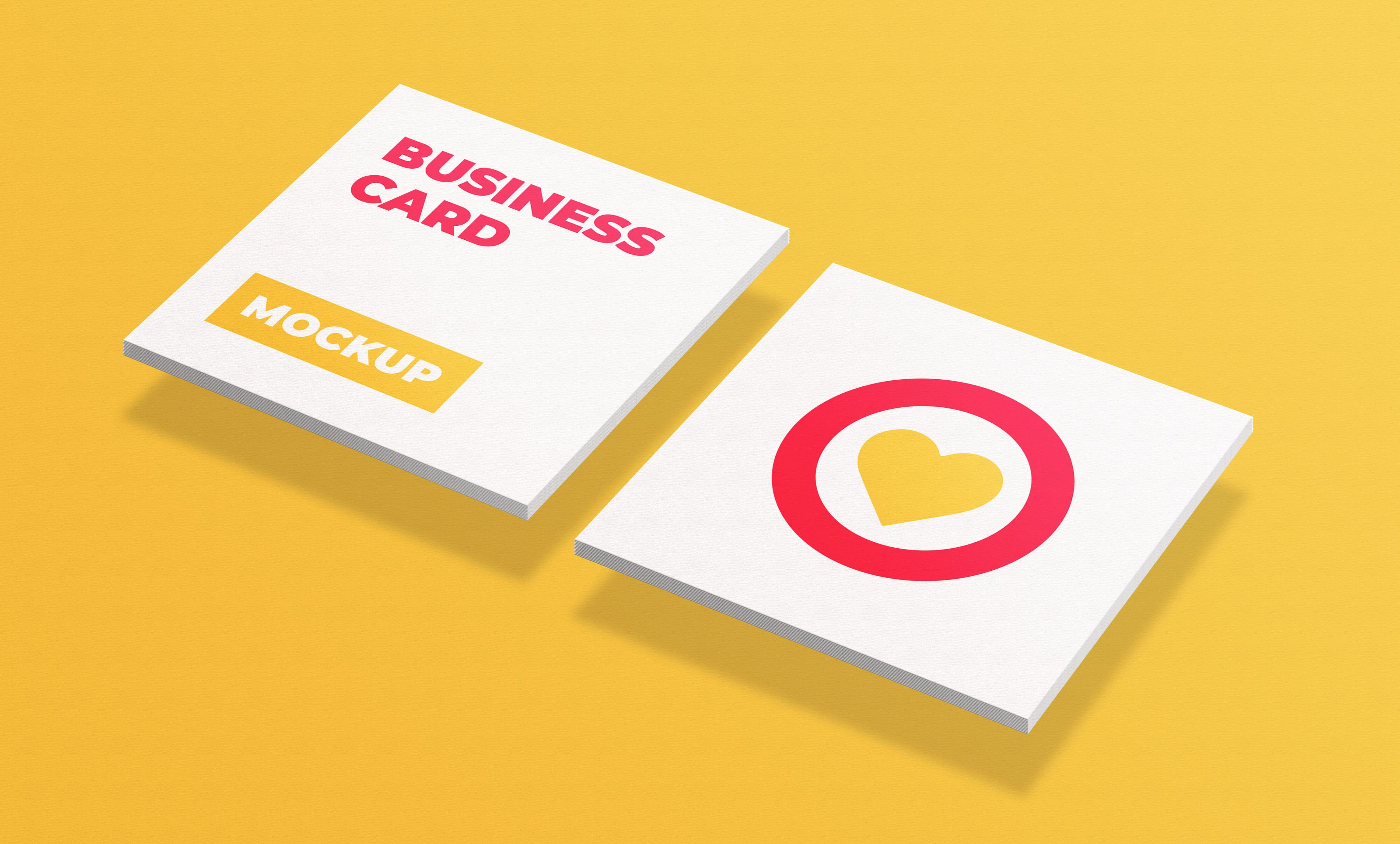 Free square business cards mockup free business card
