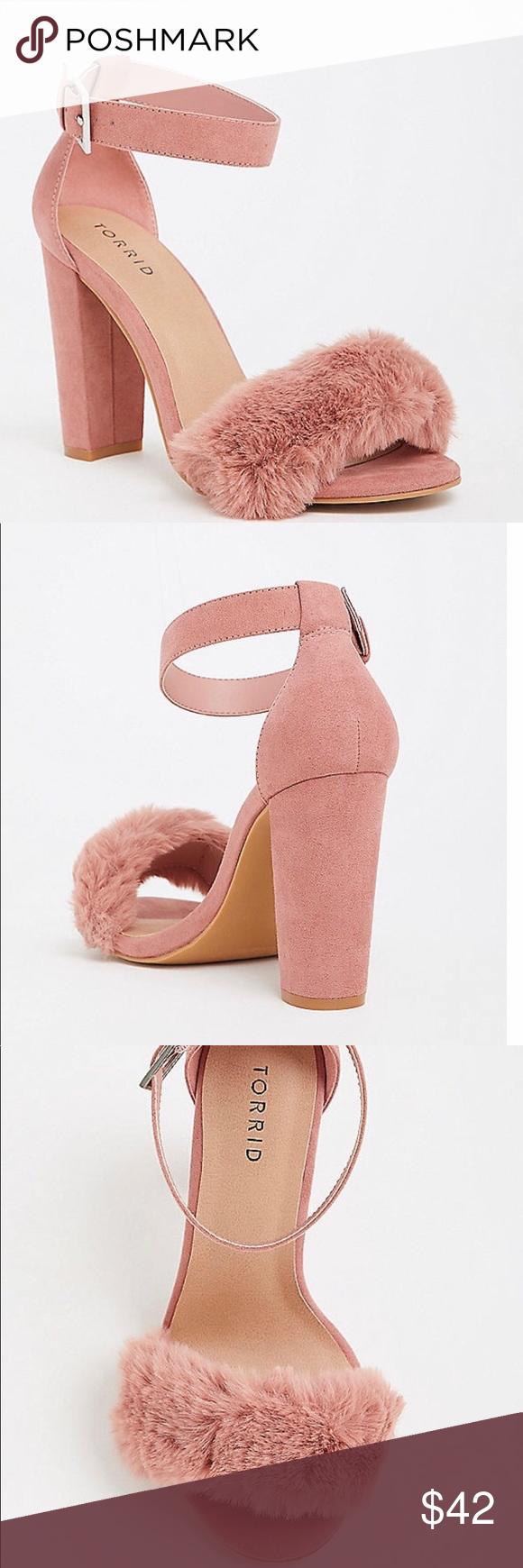 Mauve Faux Fur High Heel Sandal (Wide