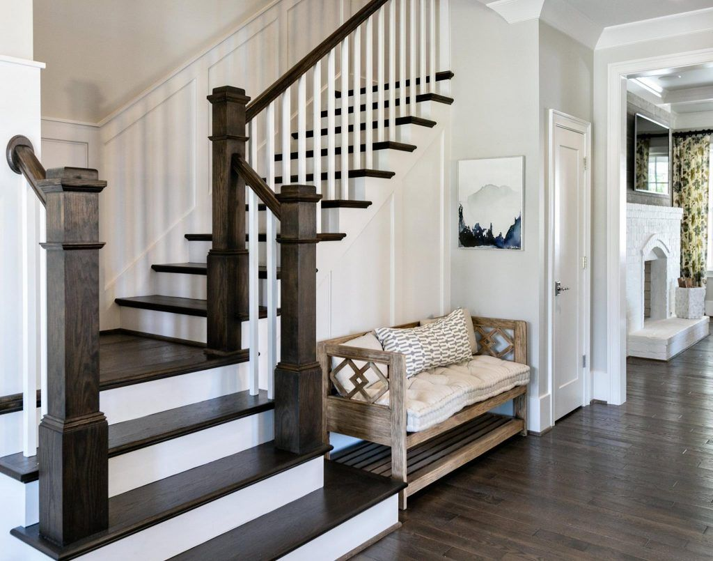 Open Foyer To Living Room Stairs In Living Room Staircase Design Farmhouse Staircase #open #stairs #in #living #room