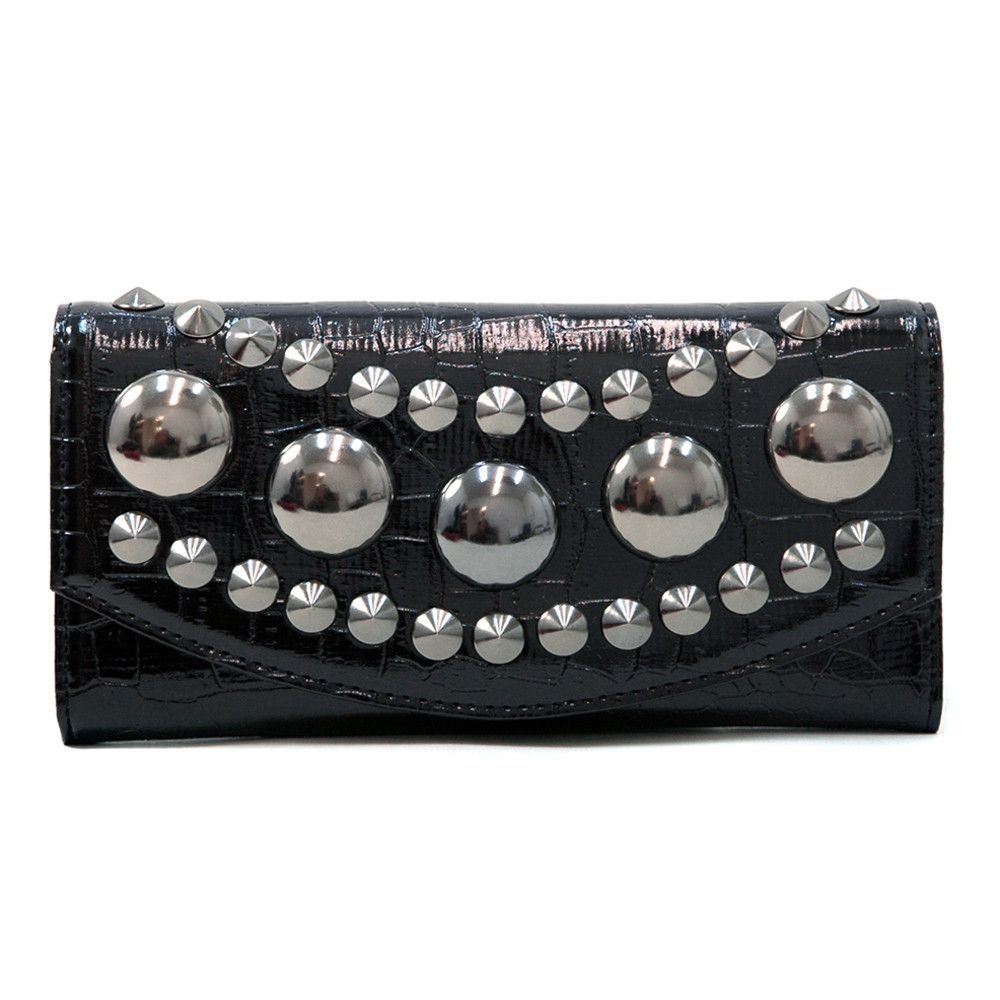 Women's Large Croco Checkbook Wallet w/ Pointy and Chunky Studs - Black Color: Black