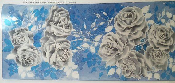 OCEAN BLUE SHAWL Hand painted/Wearable Art-Original/Grey