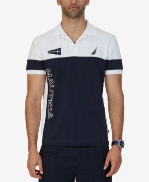 Nautica Mens Slim Fit Color Blocked Oxford Shirt