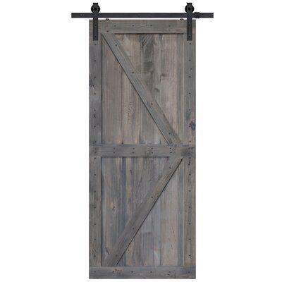 Barndoorz Paneled Wood Finish Barn Door Without Installation Hardware Kit Finish Coal Gray Size 36 X 96 In 2020 Wood Barn Door Glass Barn Doors Interior Barn Doors