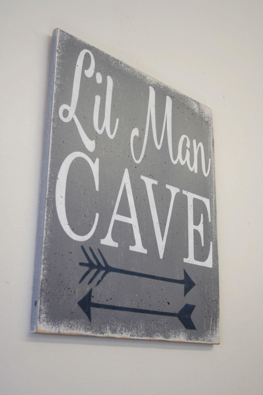 Lil Man Cave Wood Sign Tribal Arrow Nursery Woodland Nursery Boys