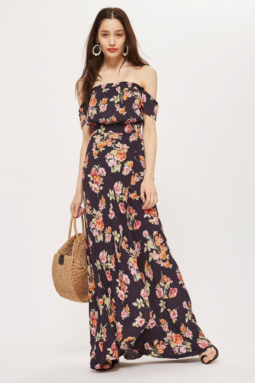 ac6f4c836750 Backless Floral Print Bardot Maxi Dress by Flynn Skye | AshleyP ...