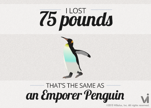 I lost 75 pounds! That is the same as an emperor penguin. (46lbs ...