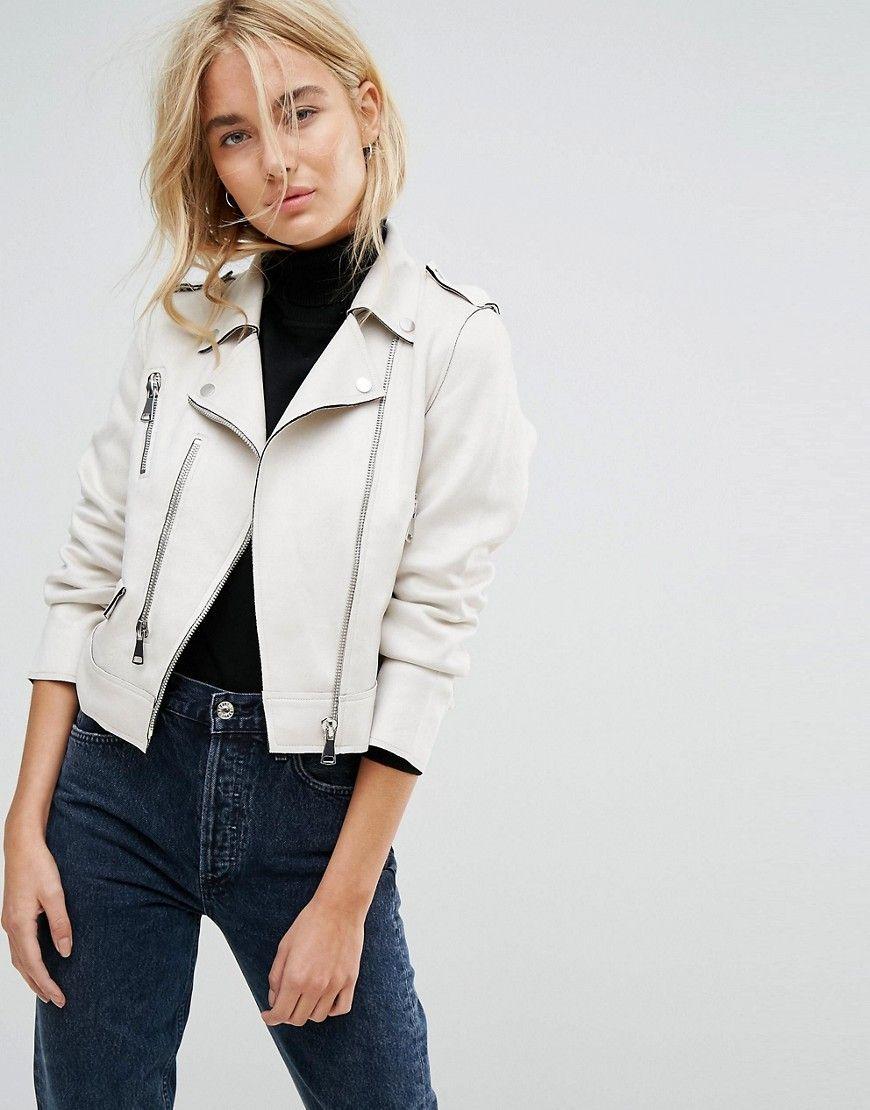 Mango Faux Leather Zip Biker Jacket Cream Leather Jacket Style Cropped Faux Leather Jacket Leather Jackets Women [ 1110 x 870 Pixel ]