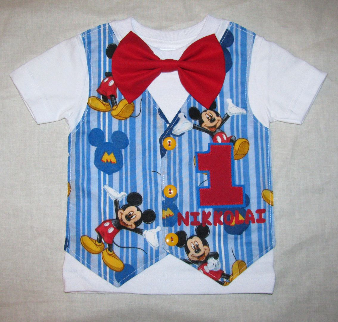 Baby Boy Blue Mickey Mouse Birthday Shirt or Onesie Tuxedo