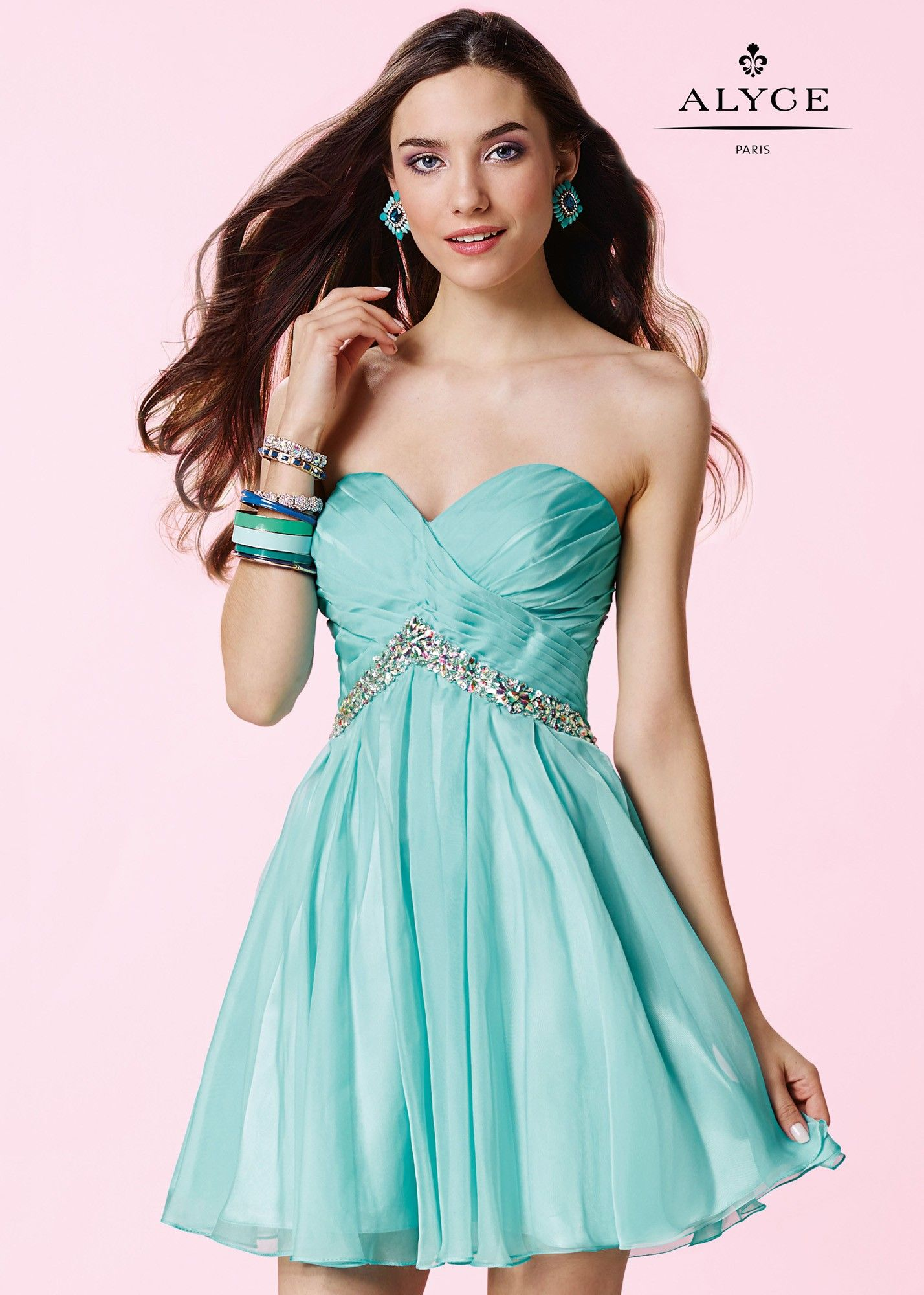 Alyce 3670 Strapless Ruched Chiffon Party Dress $178 - Quinceanera ...