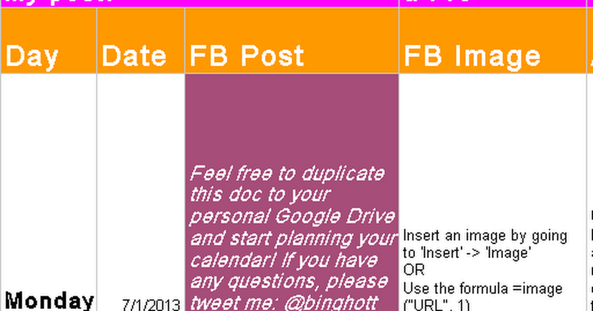 Likeable Content Calendar Sample  Social Media