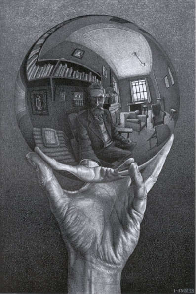 escher hand with reflecting sphere 1935 my dad had a print of this hanging in the hall way. Black Bedroom Furniture Sets. Home Design Ideas