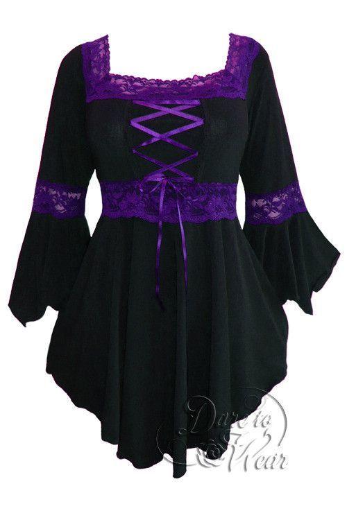 Renaissance Top in Black/Purple