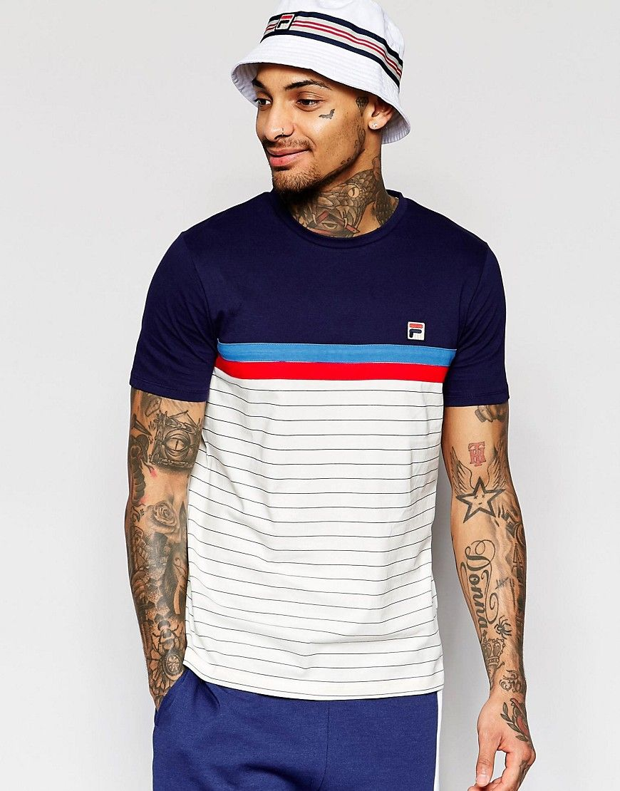 Image 1 ofFila Vintage T-Shirt With Stripe Panel