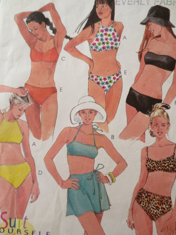 Vintage Knitting PATTERN to make Swimsuit Swim Suit Skirt Robe SportSwimsuit