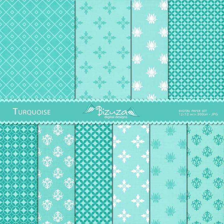 Turquoise Fantasy Scrapbooking Paper Pack Planner Stickers 2