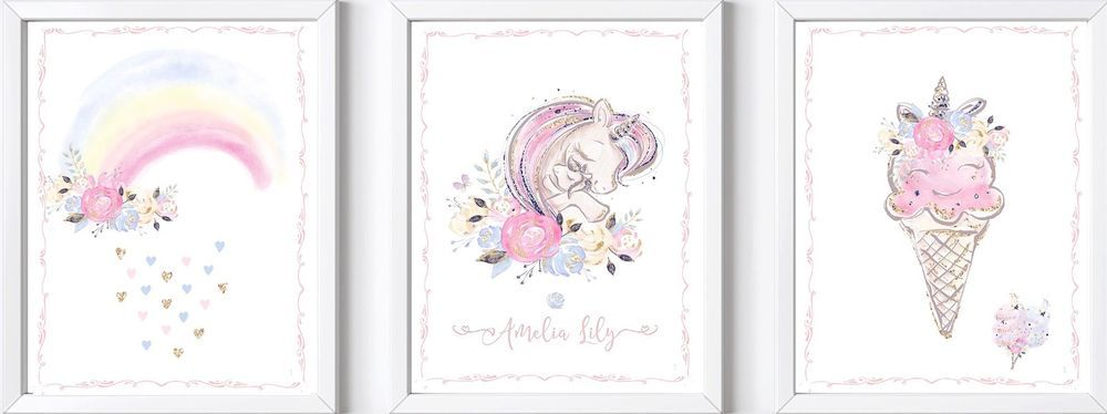 Personalised baby girl name print picture nursery gift ...