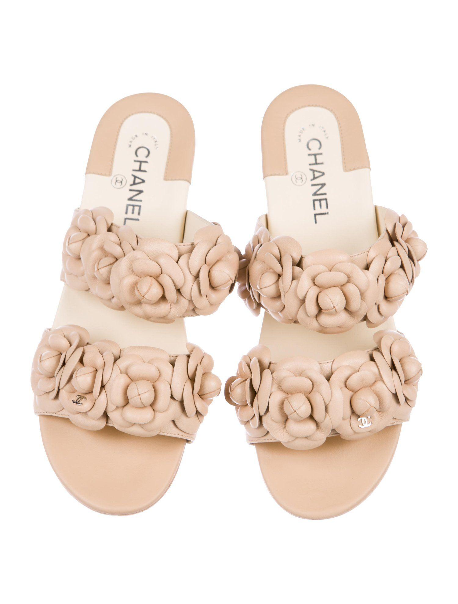 Chanel Camellia Leather Slide Sandals
