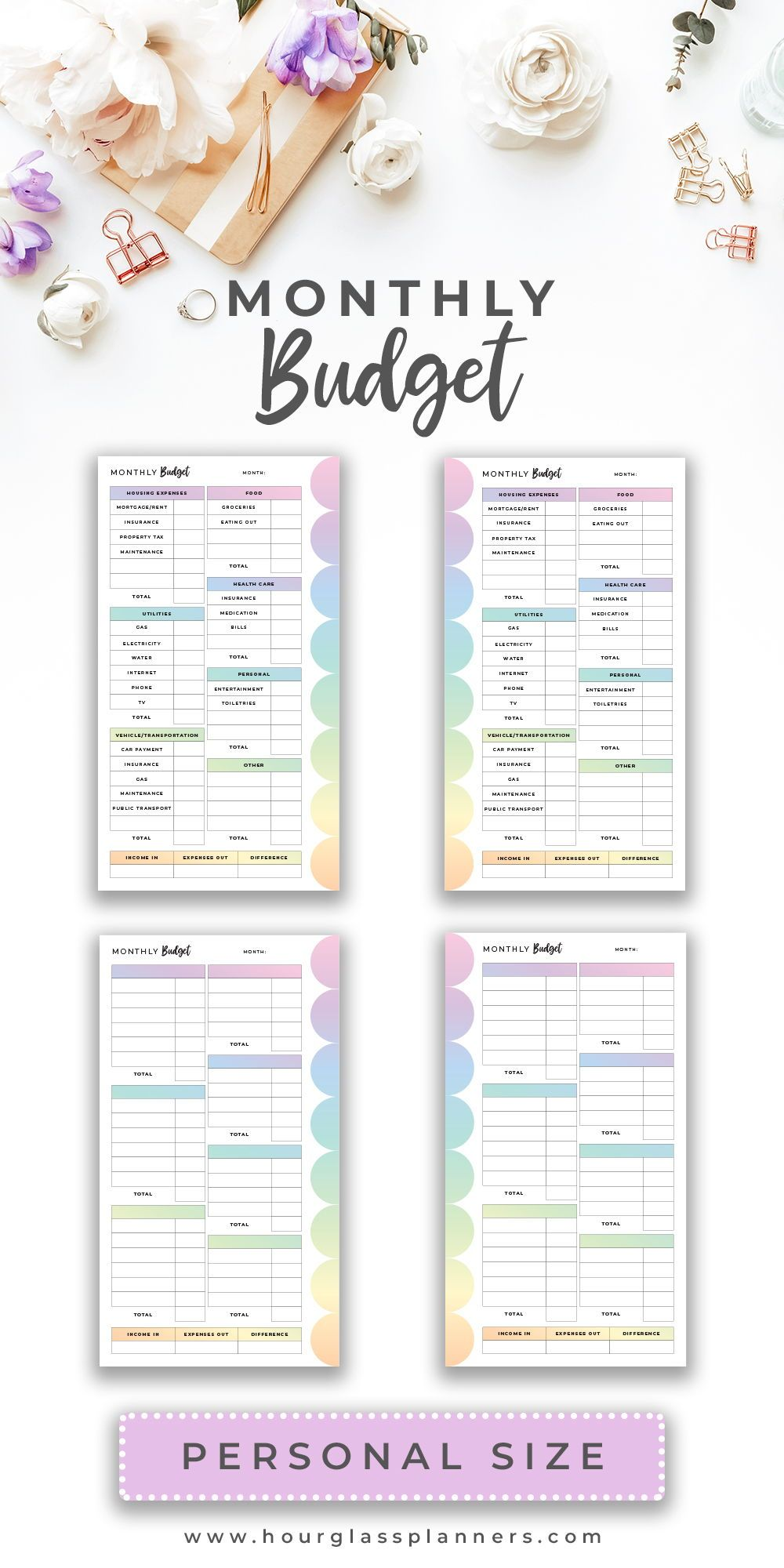 Budget Planner Printable Personal Inserts Printable Rainbow Etsy Budget Planner Printable Monthly Budget Planner Budget Planner