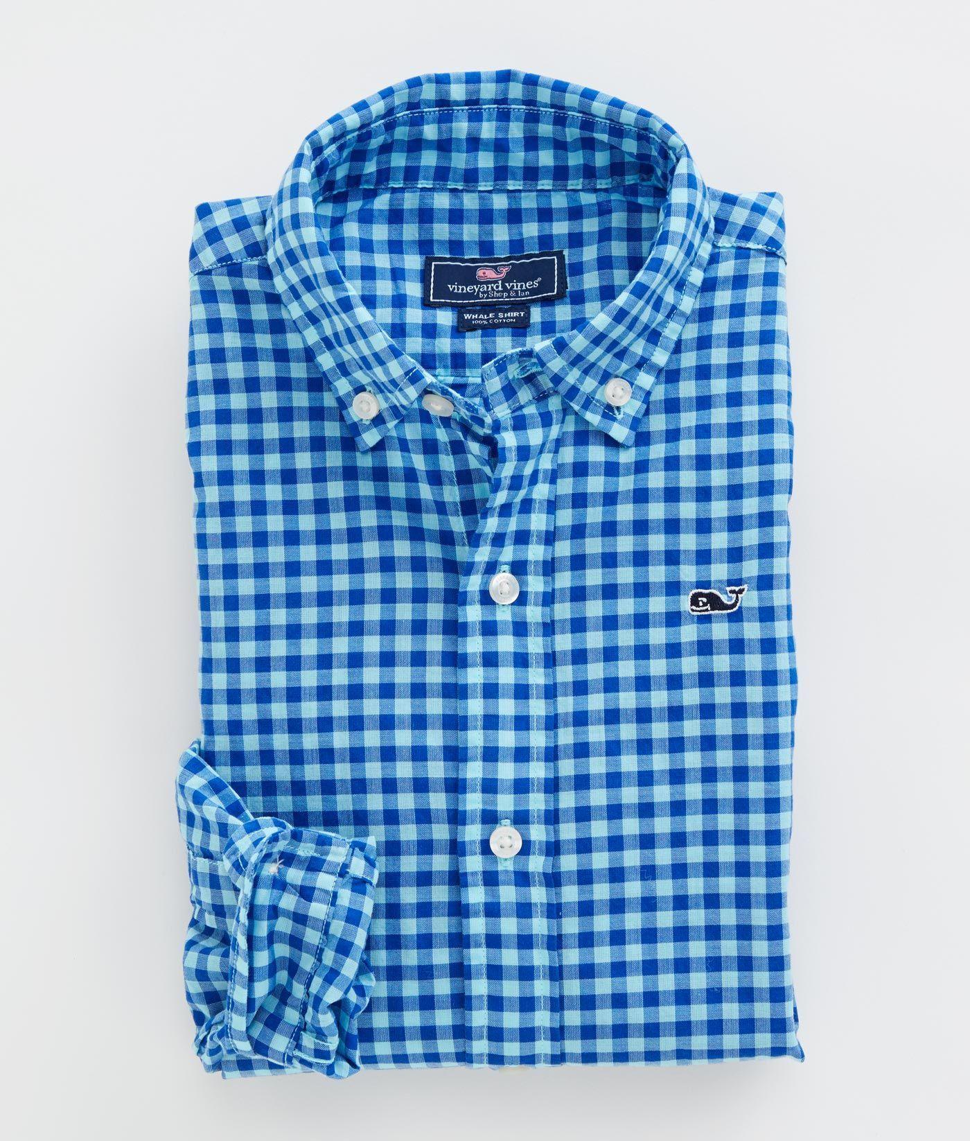 ef38484efa0 Boys' Sport Shirts: Boys Inslet Gingham Whale Shirt - Vineyard Vines ...
