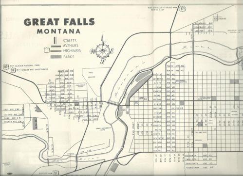 Great Falls Montana Vintage 1950s Brochure Points of Interest